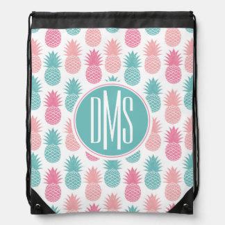 Vintage Pineapple Pattern | Monogram Drawstring Bag