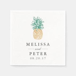 Vintage Pineapple Personalized Wedding Paper Napkin