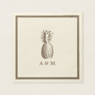 Vintage Pineapple Wedding Disposable Serviette