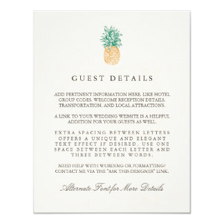 Vintage Pineapple Wedding Guest Information Card