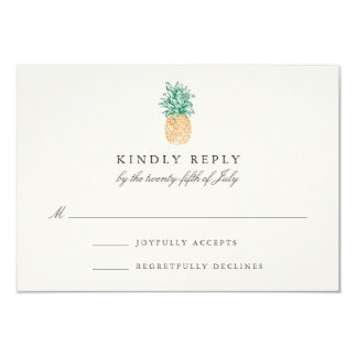 Vintage Pineapple Wedding RSVP Card