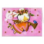 Vintage Pink 1950's angel Christmas card