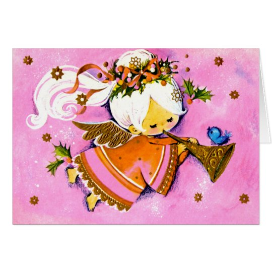 Vintage Pink 1950's angel Christmas card