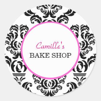 Vintage Pink and Black Damask Bakery Sticker Label