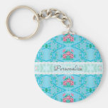 Vintage Pink and Blue Floral Wallpaper Pattern Key Chain