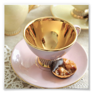 Vintage Pink and Gold Coffee Cup Photo Print