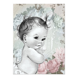 Vintage Pink and Gray Baby Girl Shower 14 Cm X 19 Cm Invitation Card