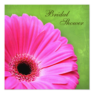 Vintage Pink and Green Daisy Bridal Shower Card