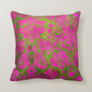 Vintage Pink and Green Damask Throw Pillow