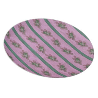 Vintage Pink and Green Floral Stripes Party Plates
