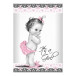 Vintage Pink and Grey Baby Girl Shower 13cm X 18cm Invitation Card