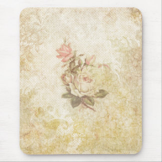 Vintage Pink and Ivory Rose Mouse Mat