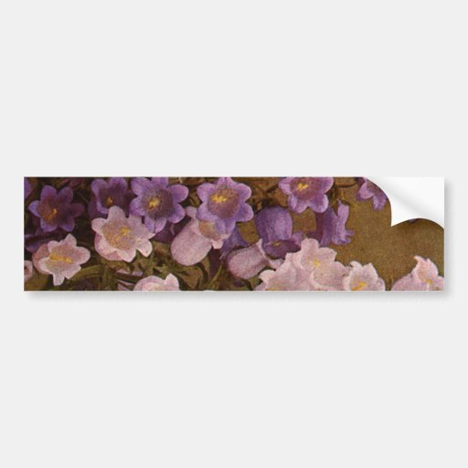 Vintage Pink and Purple Bell Flowers Bumper Stickers