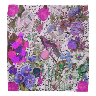 Vintage Pink and Purple Bird and Floral & Script Bandana