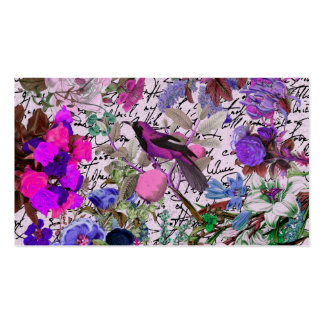 Vintage Pink and Purple Bird and Floral & Script Pack Of Standard Business Cards