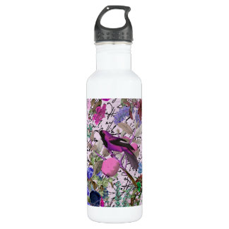 Vintage Pink and Purple Bird and Floral & Script 710 Ml Water Bottle