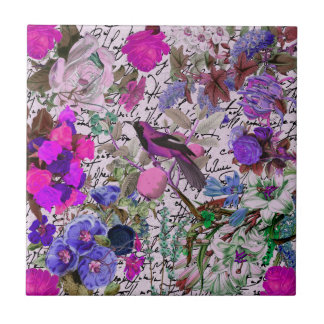 Vintage Pink and Purple Bird and Floral & Script Tile