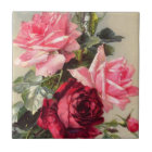 Vintage Pink and Red Roses Tile
