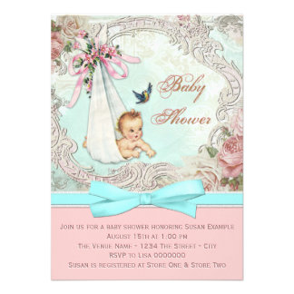 Vintage Pink and Teal Blue Baby Shower Invite