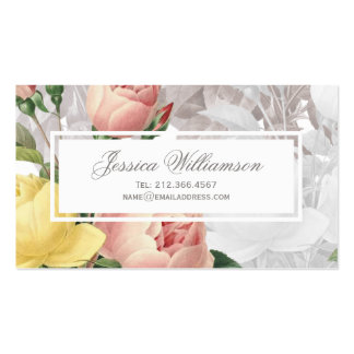 Vintage Pink and Yellow Roses Feminine Floral Pack Of Standard Business Cards
