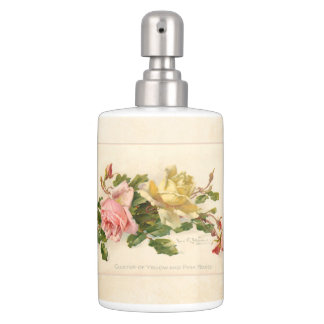 Vintage Pink and Yellow Roses Soap Dispenser And Toothbrush Holder
