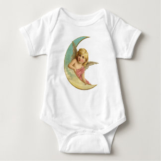Vintage Pink Angel on the Moon Baby Bodysuit