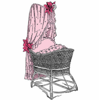 Vintage Pink Baby Bassinet Photo Cut Out
