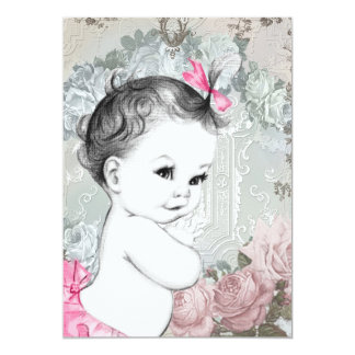 Vintage Pink Baby Girl Shower 13 Cm X 18 Cm Invitation Card
