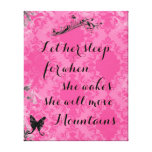 Vintage Pink Baby Quote She Will Move Mountains
