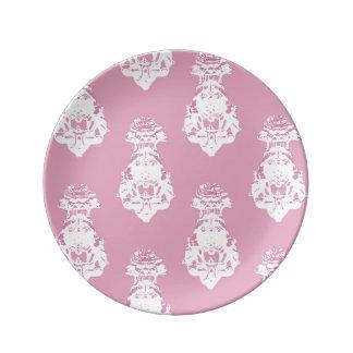 Vintage pink background porcelain plate