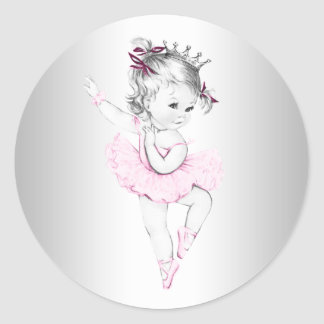 Vintage Pink Ballerina Baby Shower Sticker