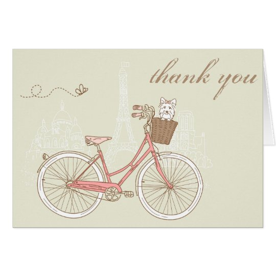 Vintage Pink Bicycle with a Terrier Thank You Card