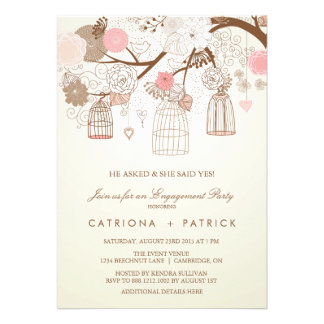 VINTAGE PINK BIRDCAGES ENGAGEMENT PARTY INVITATION