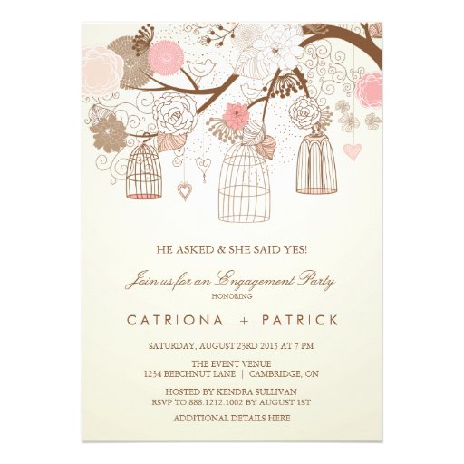 VINTAGE PINK BIRDCAGES ENGAGEMENT PARTY INVITATION