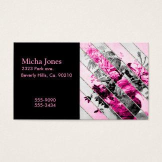 Vintage Pink Black White Floral Stripes Glitter Business Card