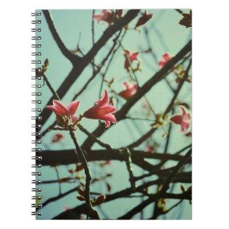 Vintage pink blossom spiral notebook