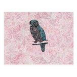 Vintage Pink Blue Cute Owl Post Cards