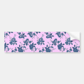 Vintage Pink Blue Floral Bumper Stickers