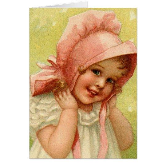 Vintage Pink Bonnet Girl Easter Card