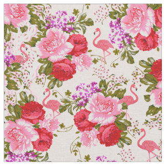 Vintage pink botanical flowers tropical flamingo fabric