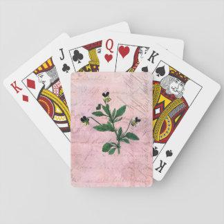 Vintage Pink Botanical Violas Playing Cards
