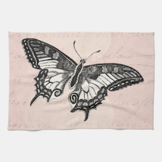 Vintage Pink Butterfly Illustration - Butterflies Tea Towel