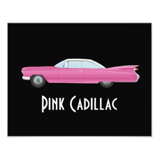 Vintage Pink Cadillac with Black Background Photo Print