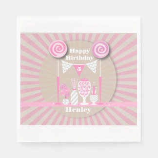 Vintage Pink Candy Buffet Birthday Napkins Paper Napkins