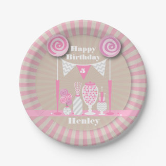 Vintage Pink Candy Buffet Birthday 7 Inch Paper Plate
