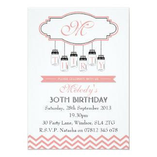 Vintage Pink Chevron 30th Birthday Invitation