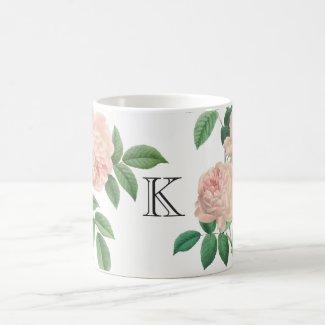 Vintage Pink China Rose Botanical with Monogram Coffee Mug