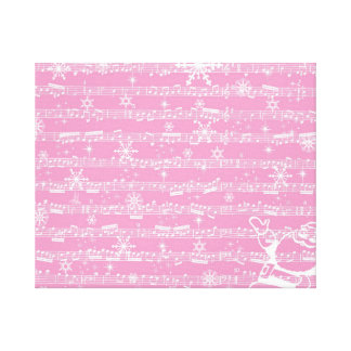 Vintage Pink Christmas Musical Sheet Stretched Canvas Print