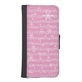 Vintage Pink Christmas Musical Sheet iPhone SE/5/5s Wallet Case