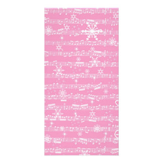 Vintage Pink Christmas Musical Sheet Photo Card Template